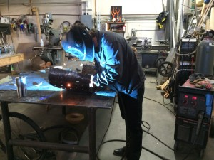 Kevin welding the skirt