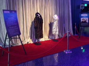 The Aluminum Drop Dress (sponsored by Novelis) and the Faux Fur Coat on display in the Aquarium